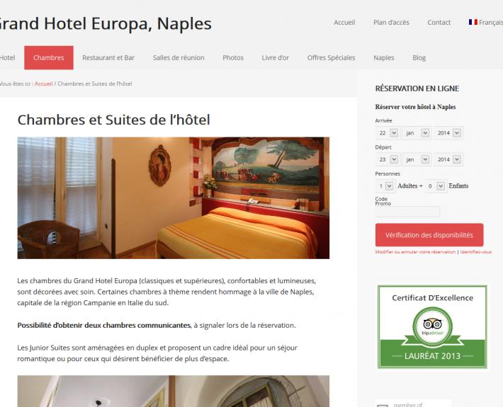 Progetto sito web hotel a Napoli