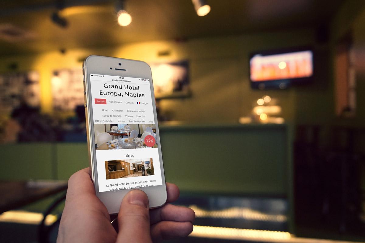 Creazione sito web Grand Hotel Europa Napoli, Italia: smartphone Version (Iphone)