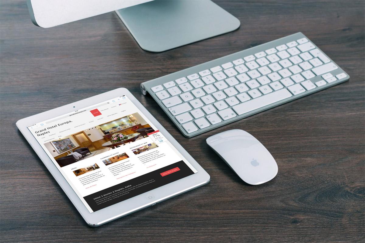 Creazione sito web Grand Hotel Europa Napoli, Italia: tablet Version (Ipad)