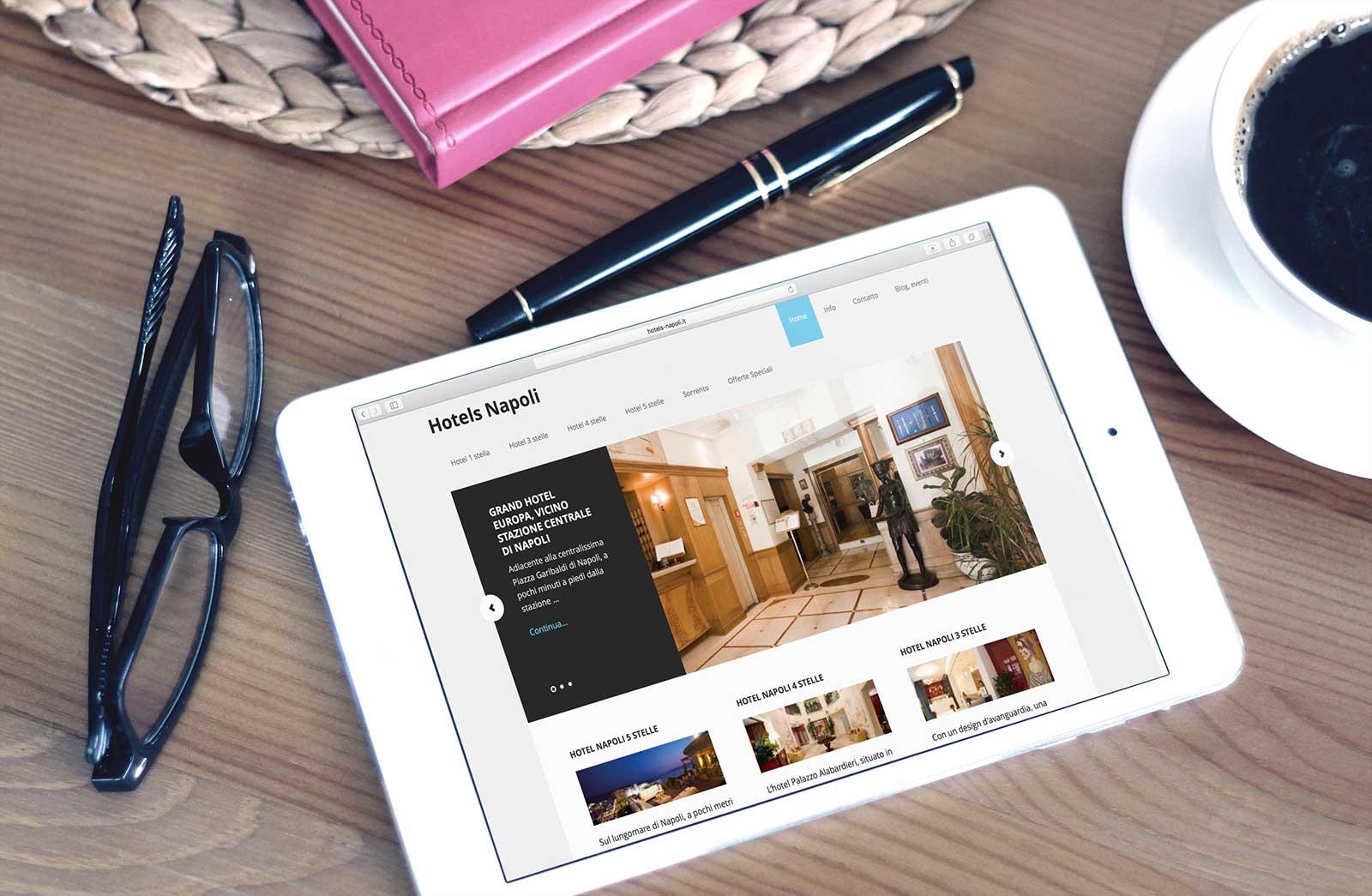 Realizzazione sito blog Hotels Napoli, Italia: tablet Version (Ipad)