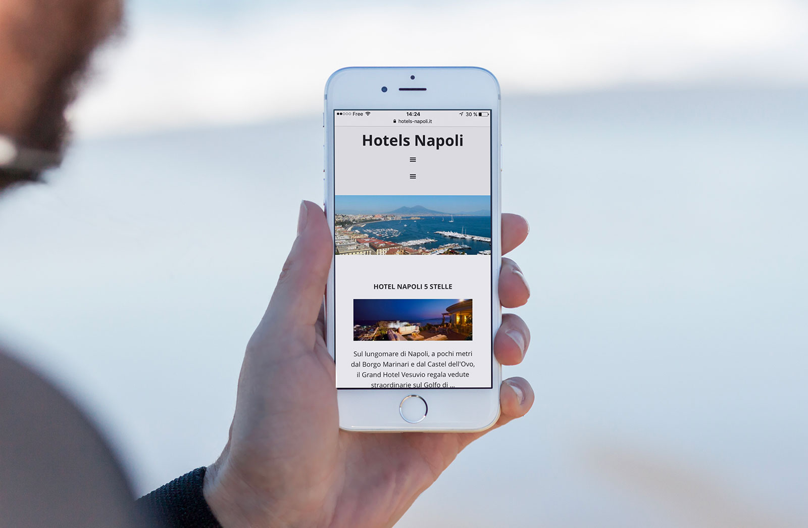 Creazione sito blog Hotels Napoli, Italia: smartphone Version (Iphone)